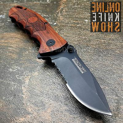"8"" TAC FORCE SPRING ASSISTED WOOD FOLDING POCKET KNIFE Blade"