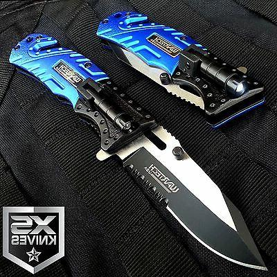 Blue EDC Assisted LED MULTI TOOL Folding Pocket Knife Belt C