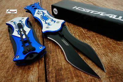 """8"""" Blue Spring Assisted Scorpion Double Blade Knife with Sil"""