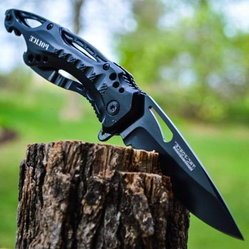 8 police spring assisted open blade folding