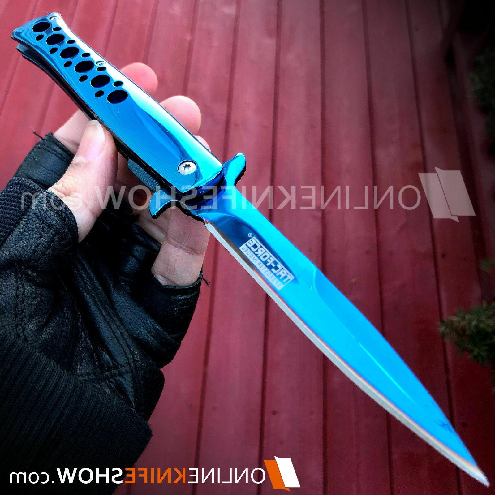 "9.2"" TAC FORCE STILETTO SPRING OPEN TACTICAL FOLDING KNIFE EDC"