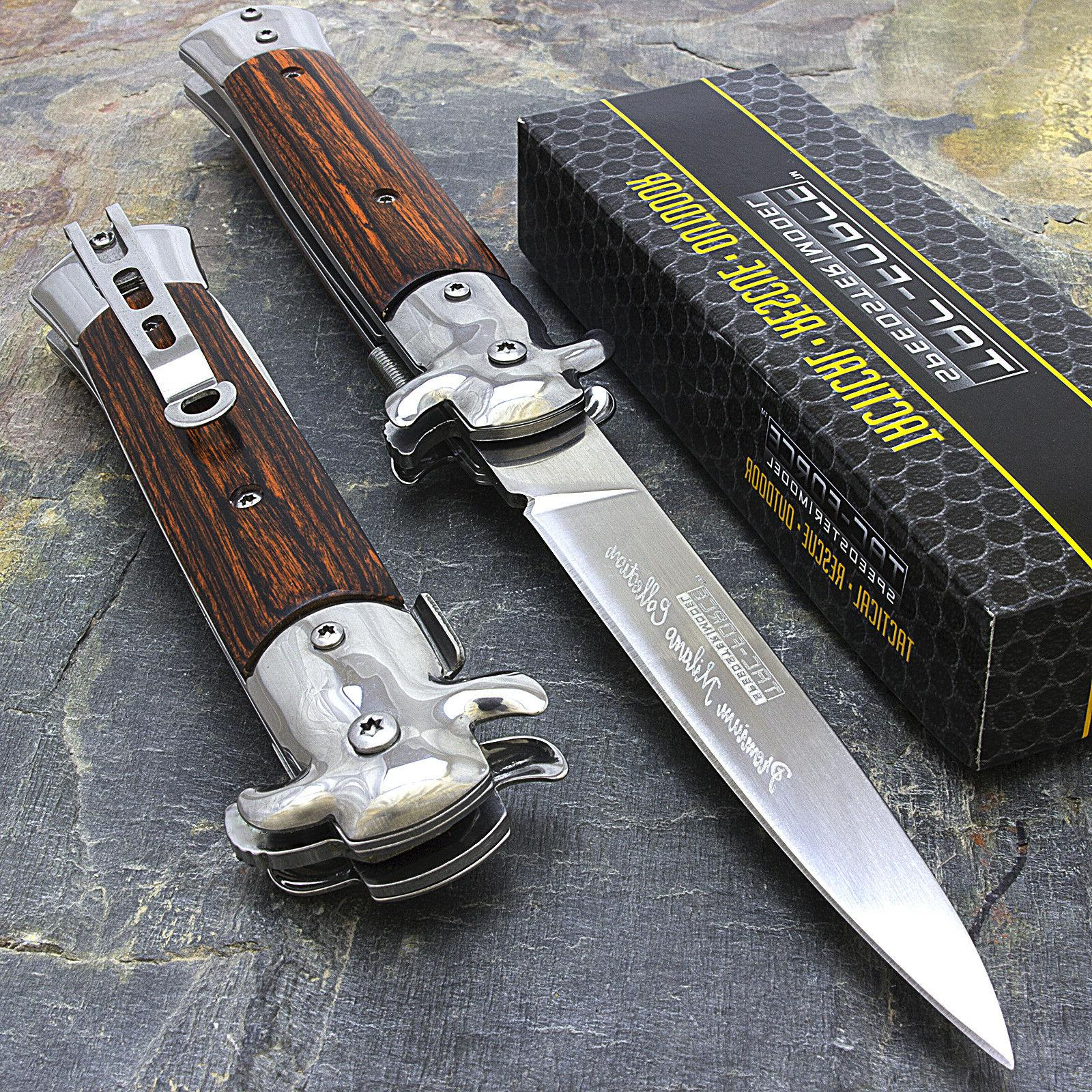 "9"" STILETTO TAC FORCE MILANO TACTICAL WOOD SPRING ASSISTED F"