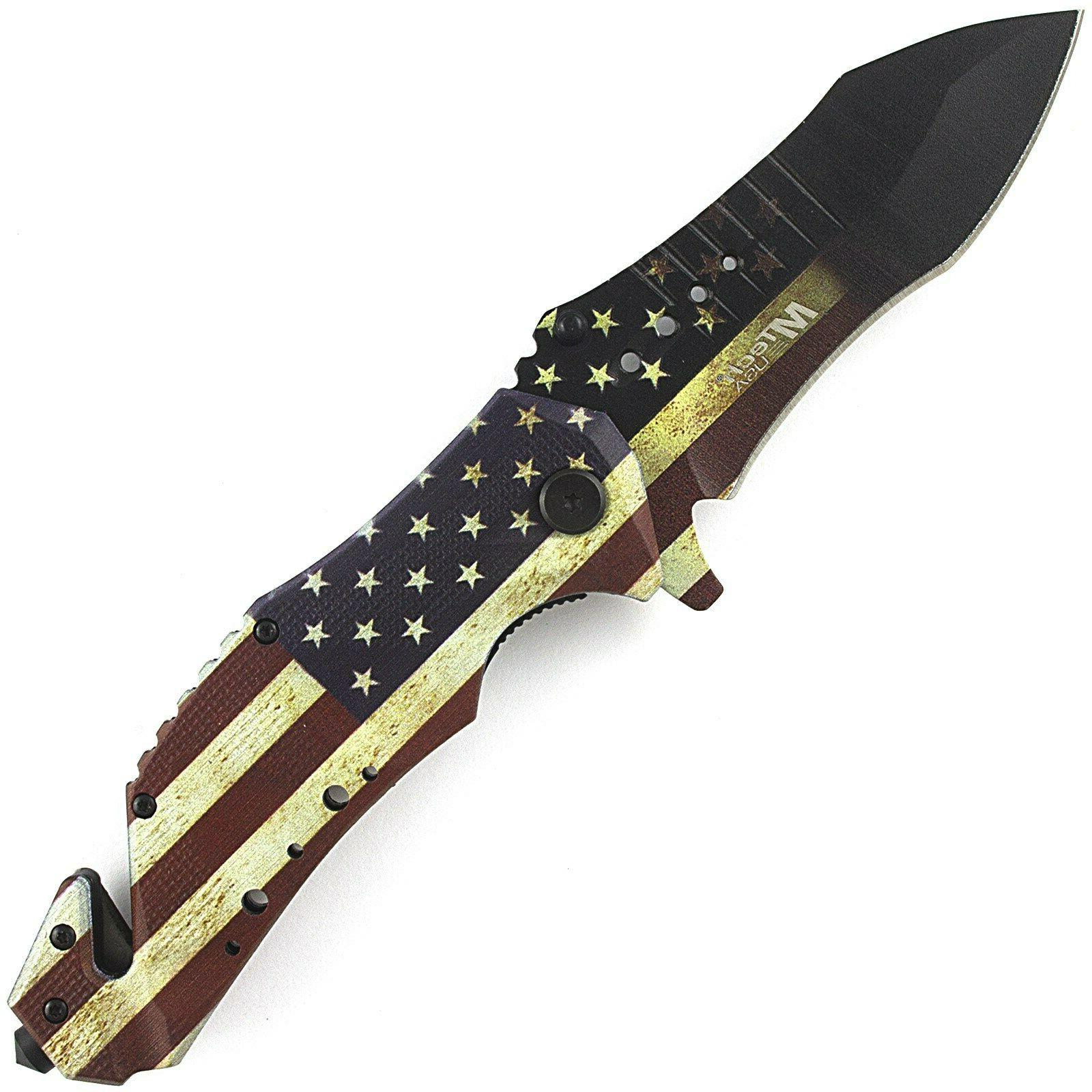 "9"" USA FLAG SPRING KNIFE"