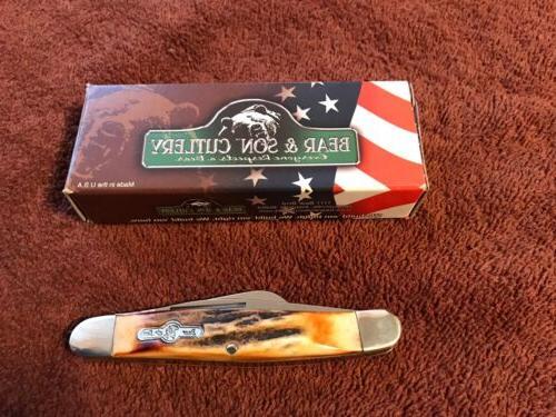 BEAR & SON Med-size STOCKMAN FOLDING POCKET KNIFE Genuine In