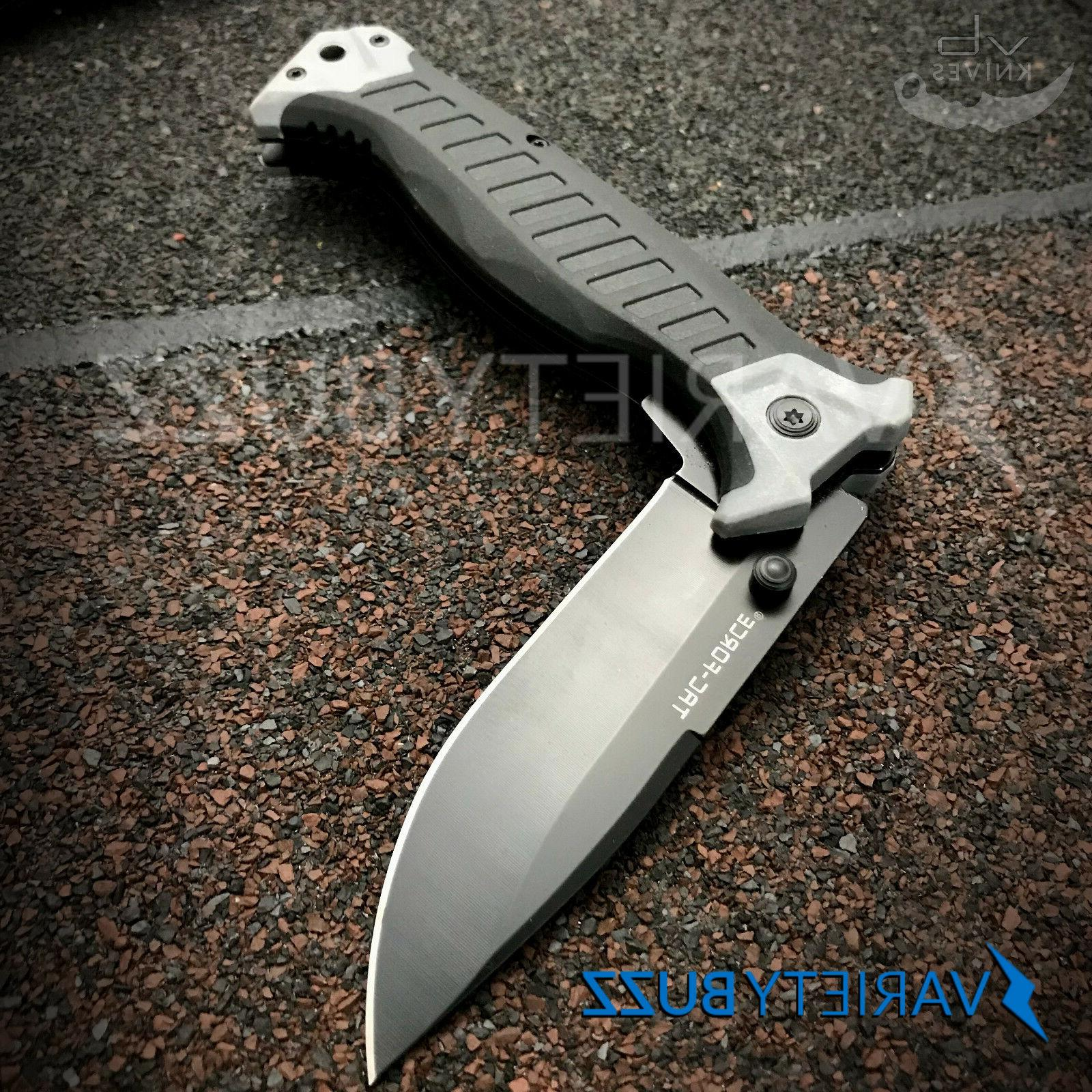 GRAY ASSISTED POCKET KNIFE Tactical Blade MILITARY