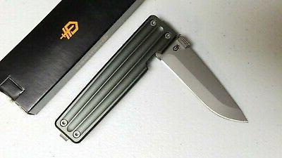 Gerber Pocket Square Linerlock Gray Aluminum Folding Drop Pt