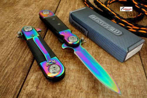 "NEW 8"" Wartech Rainbow STEAMPUNK Stiletto Pocket Knife Foldi"