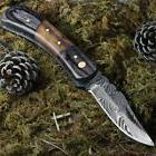 Real Damascus Steel Folding Pocket Knife Timber Wolf Rosewoo