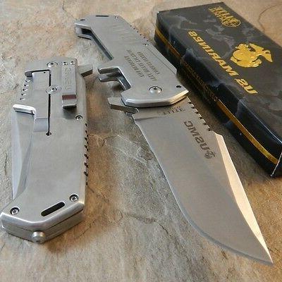USMC MARINES Warlord SATIN Folding Blade Rescue Pocket Knife