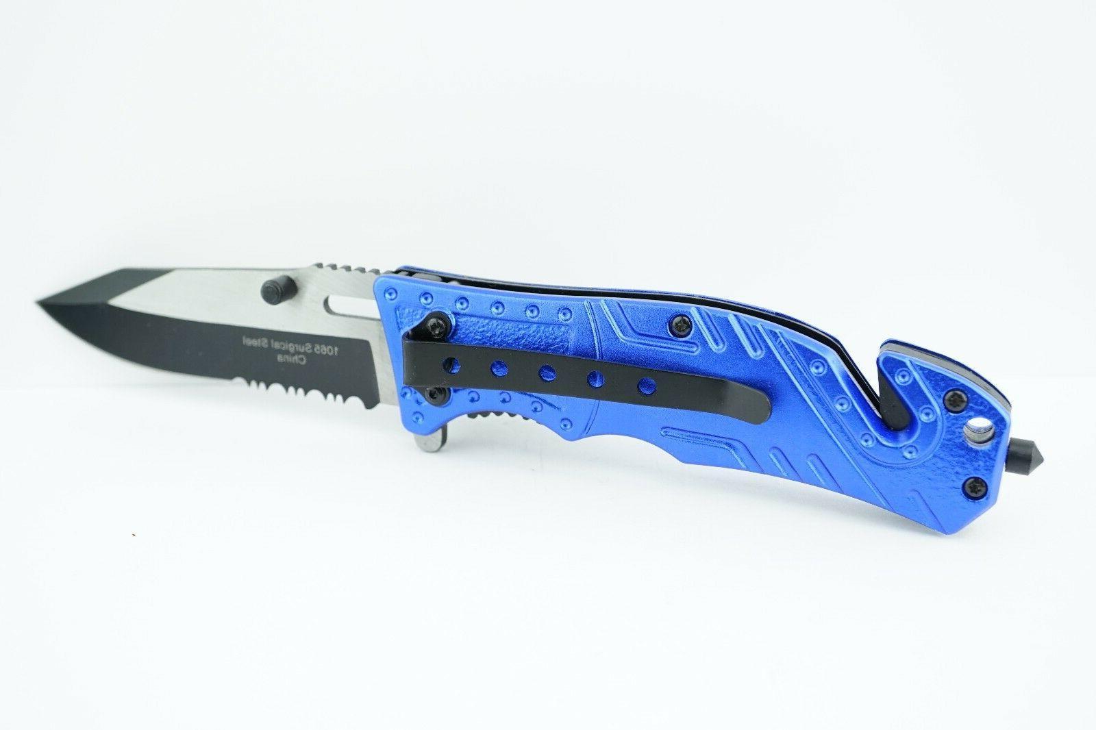 Wartech Rescue Open Folding Pocket Knife BLUE