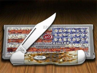 amber bone mini copperlock knife