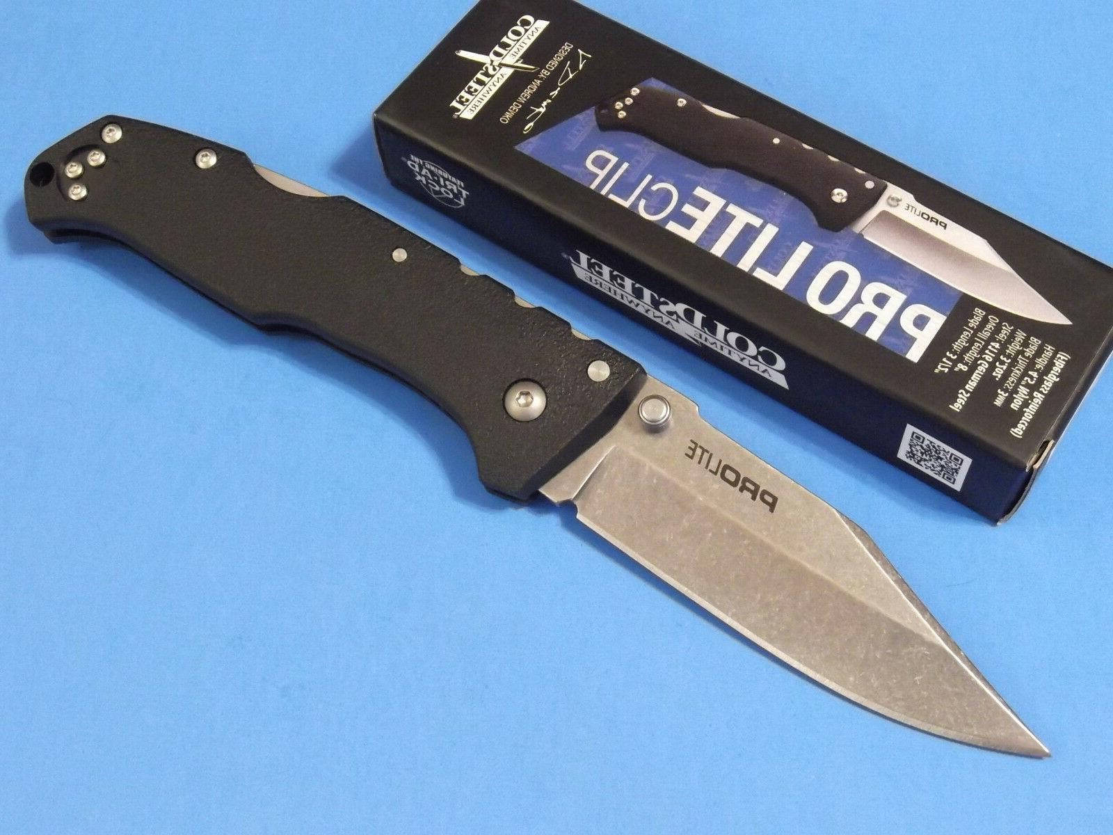 COLD STEEL Black Handle PRO LITE Straight CLIP POINT Folding