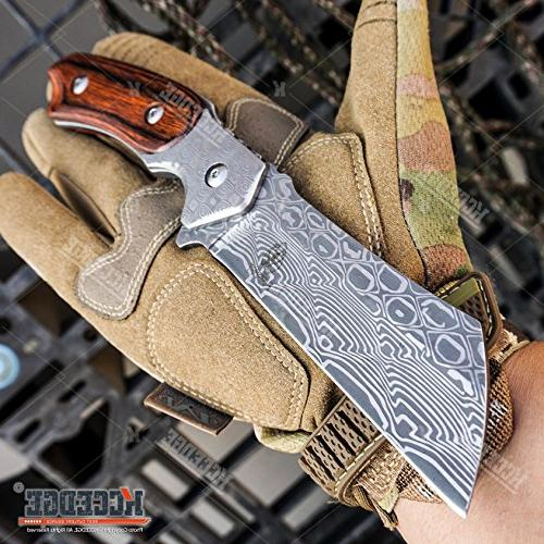 "WarTech BUCKSHOT KNIVES PC Cleaver Combo HIKING FOREST Etched 8.75"" CLEAVER BLADE Folding Blade CAMPING"