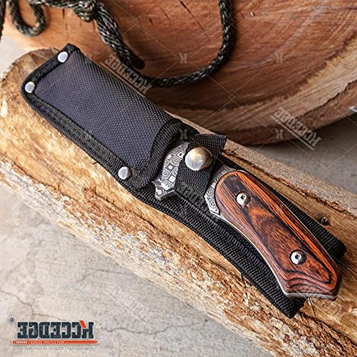 "WarTech KNIVES PC Cleaver FOREST Etched 8.75"" + STYLE Folding Blade KNIFE"