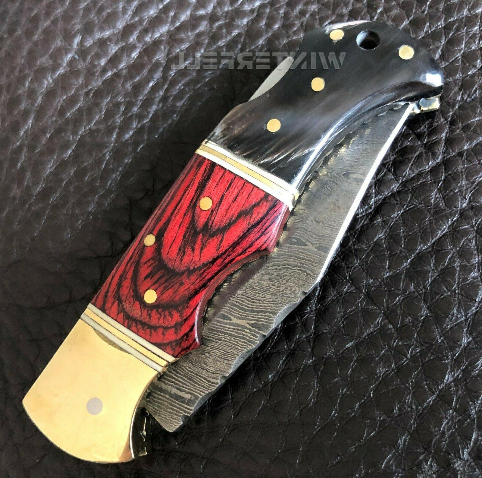"Damascus Steel Pocket Knife 6.5"" With Leather"