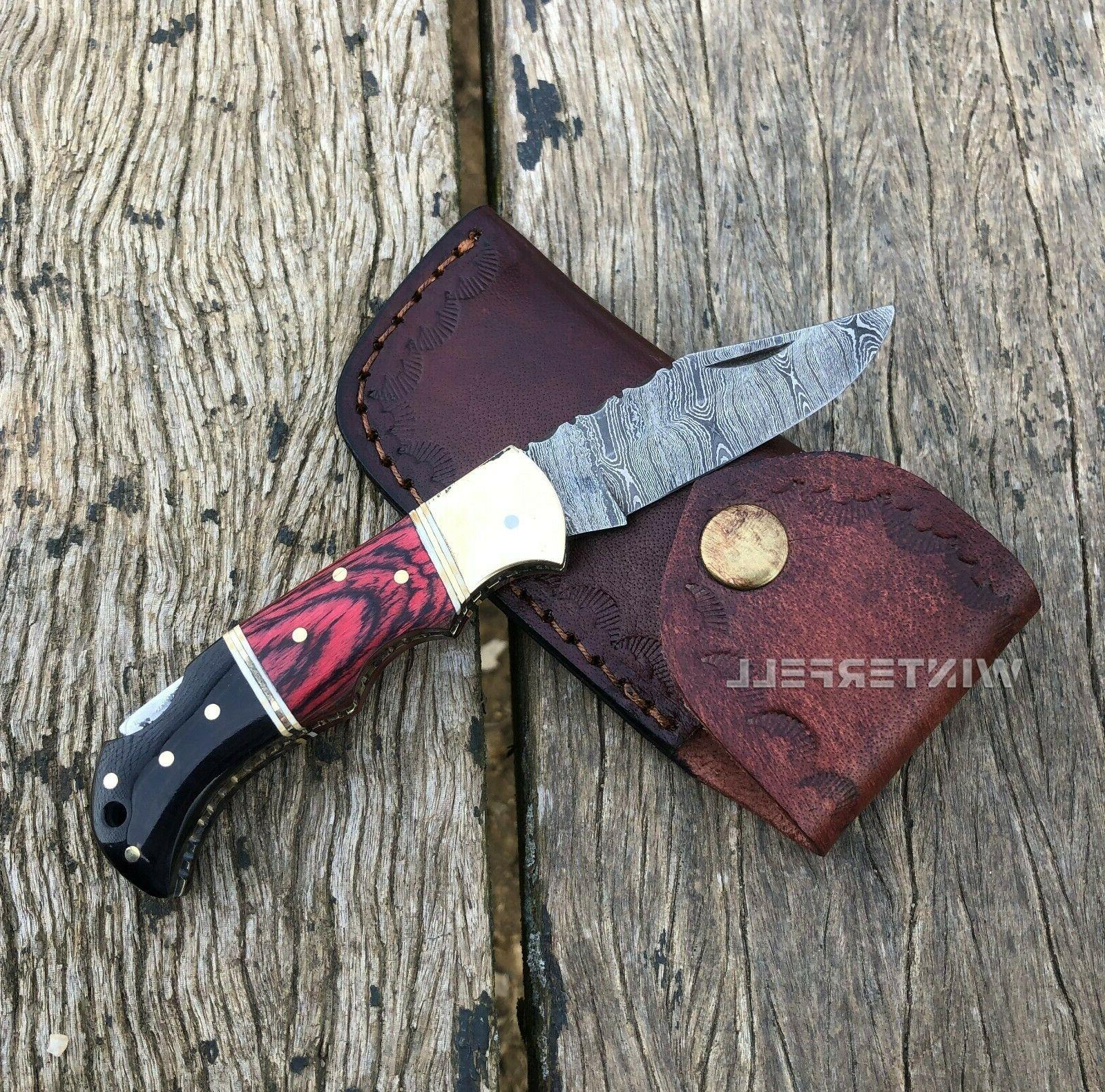 Damascus Steel Folding Knife Horn+Wood Handle With