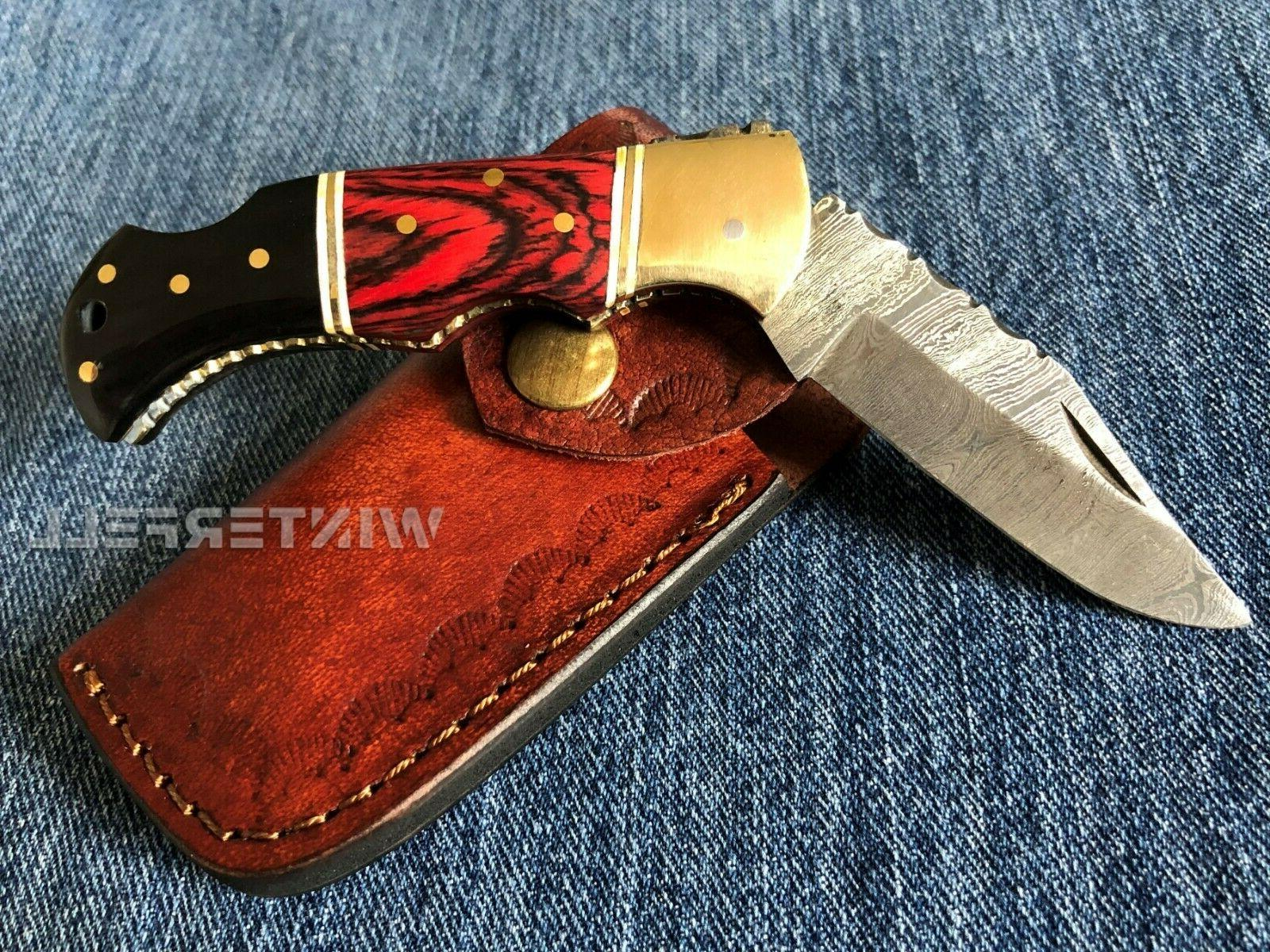 "Damascus Knife 6.5"" Horn+Wood Handle With"