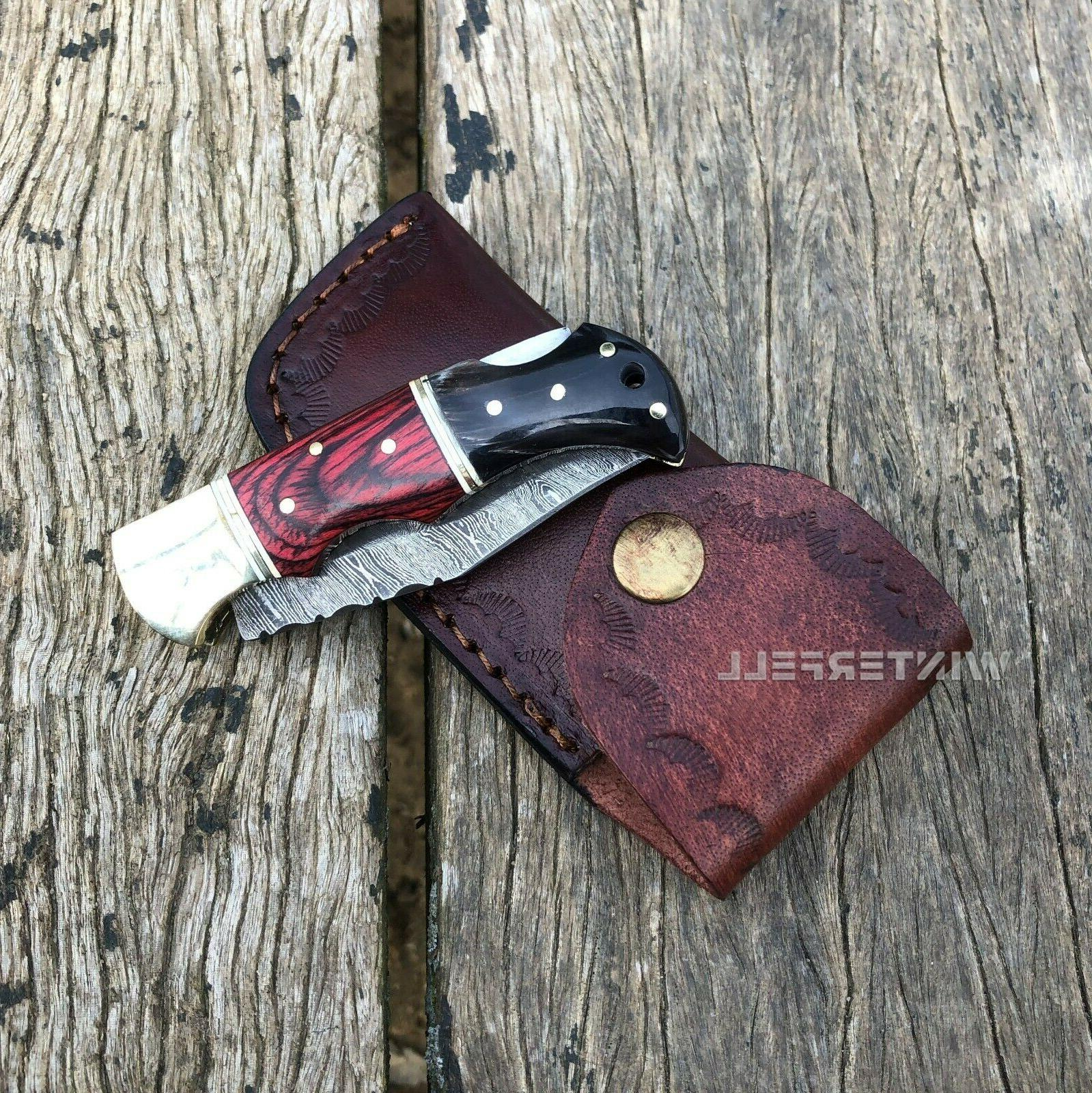 Damascus Knife Horn+Wood With