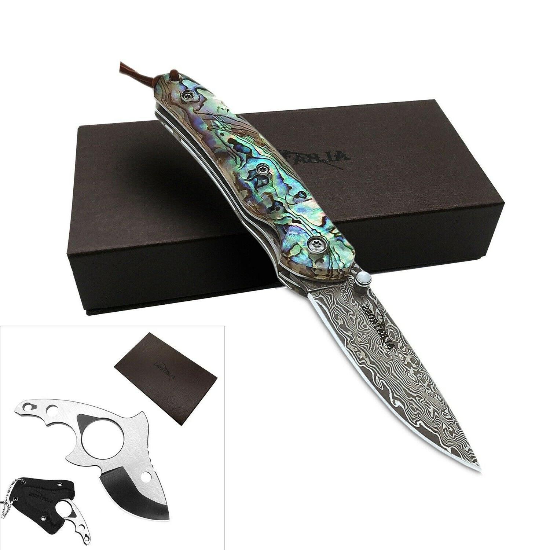 damascus steel folding pocket knife fish style