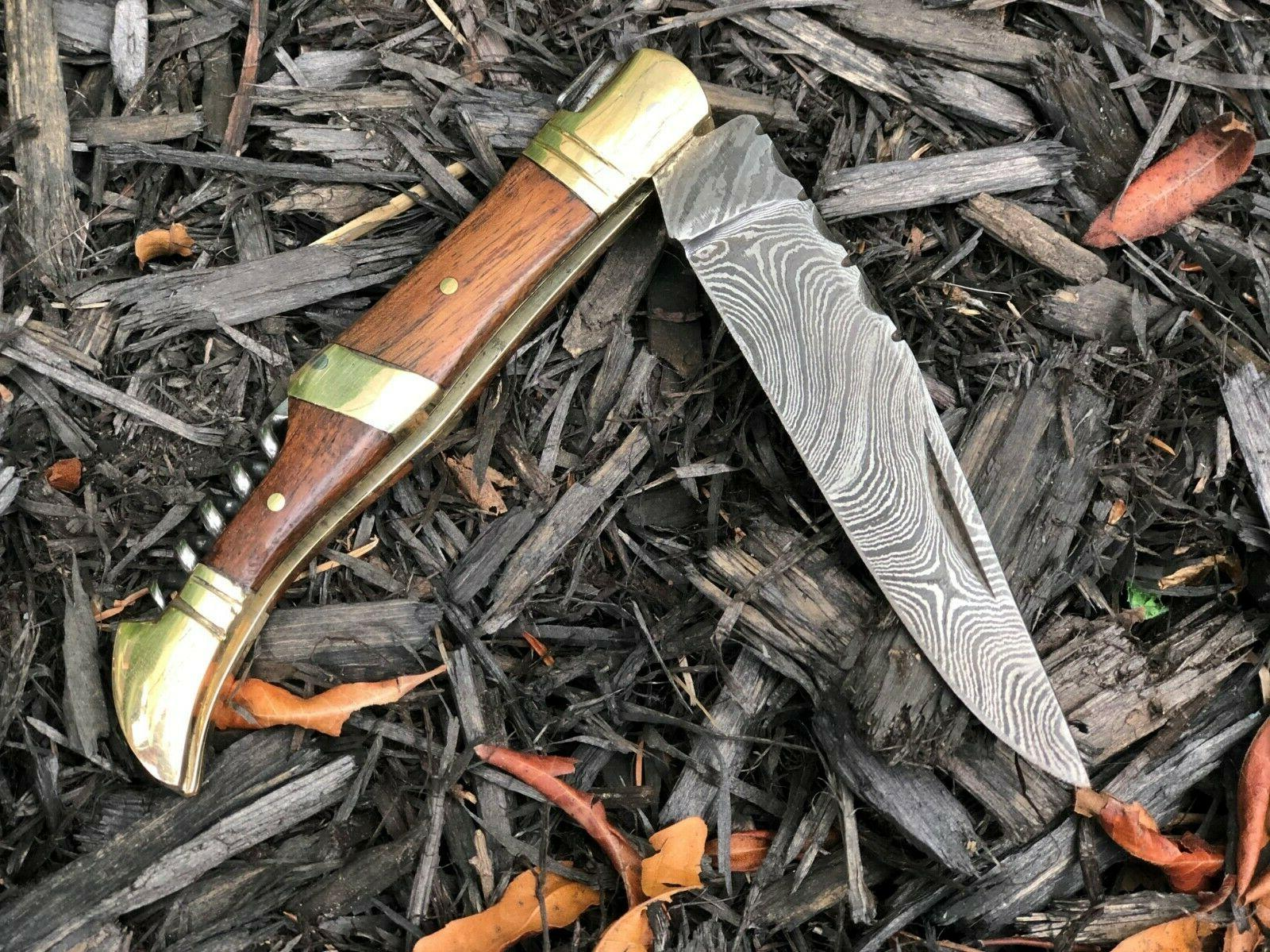 Damascus Knife 100% Handmade Corkscrew Pocket Knives