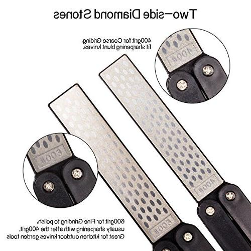Folding Knife 400/600 Grit Double Diamond Knife Sharpening for Tools, Black
