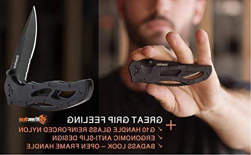 The Atomic Bear Knife with Half Stainless Steel G10 Perfect for Rescue, Self Defense, Survival, Fishing, Hiking, Climbing,