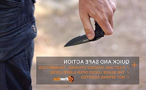 The Bear Folding Knife Half Stainless Steel G10 Perfect Rescue, Survival, Camping, Climbing,