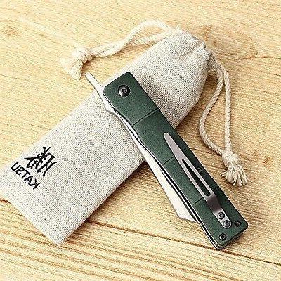 Handmade Folding Knife Japanese Double Edged Steel