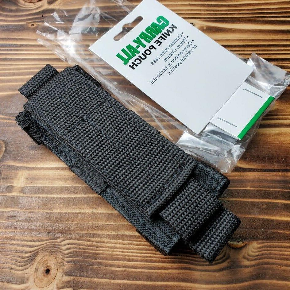 Heavy Duty Black Nylon Folding Knife Belt Sheath Fits Up To
