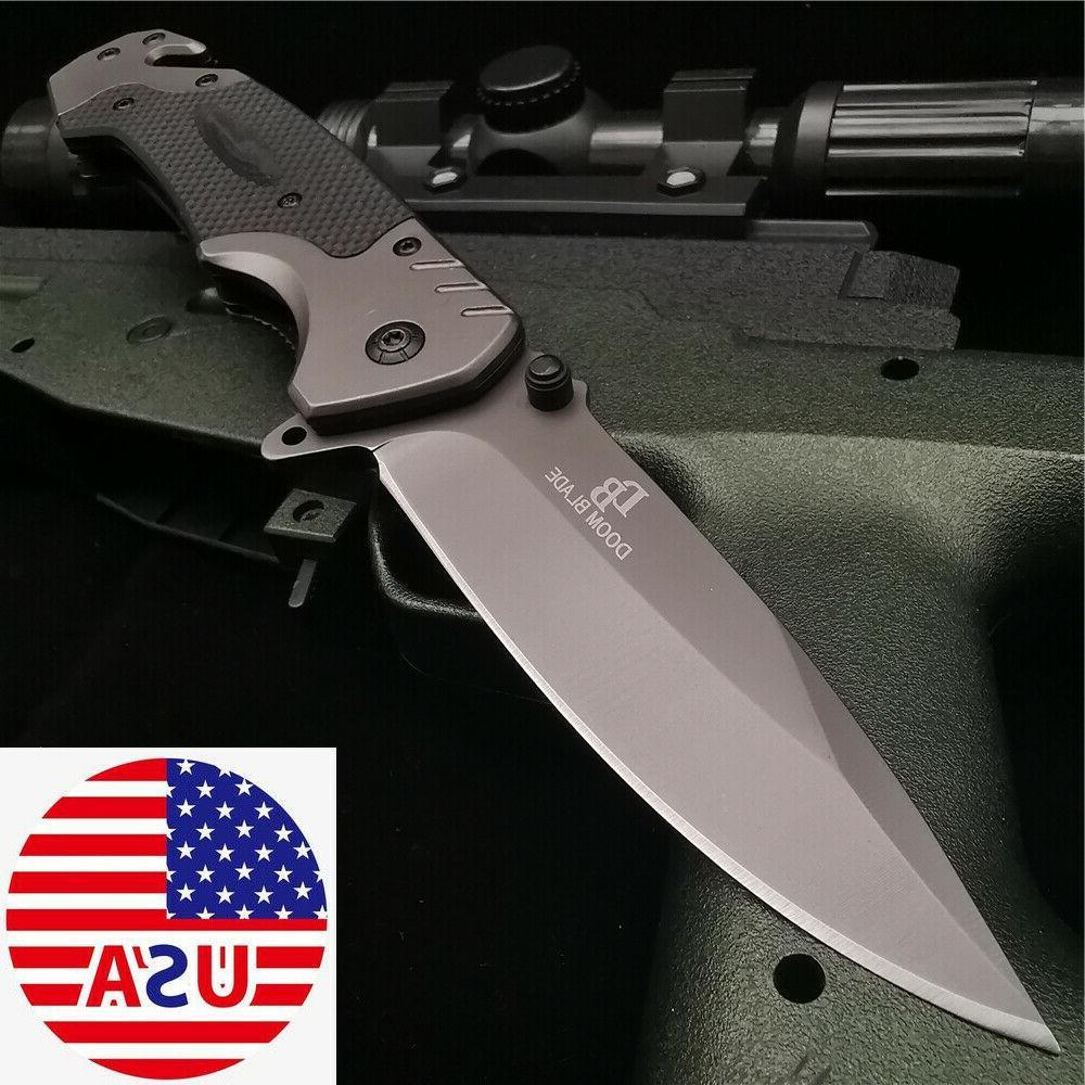 hunting folding knife g10 flipper tactical combat