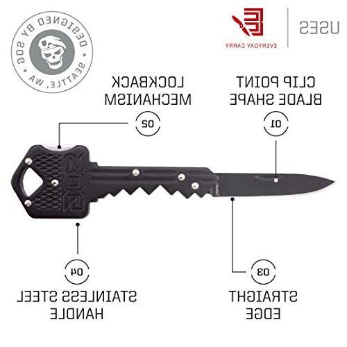 SOG Hidden Keychain, Pocket Knife Tool w/ Knife Key Blade