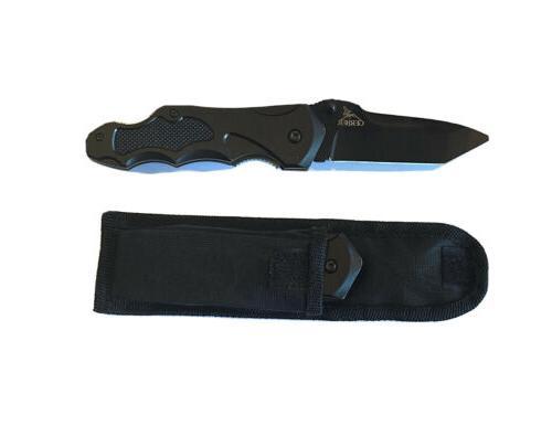 kiowa black tanto pocket knife plain edge