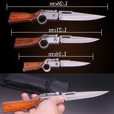 Knife Folding Pocket Knife 440 Blade Wood Handle Outdoor Cam