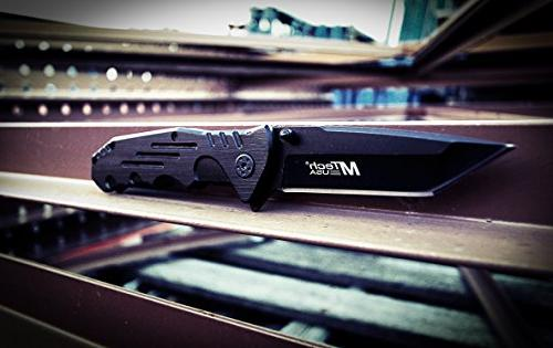 MTech Folding Tactical Knife, Black Handle, Closed
