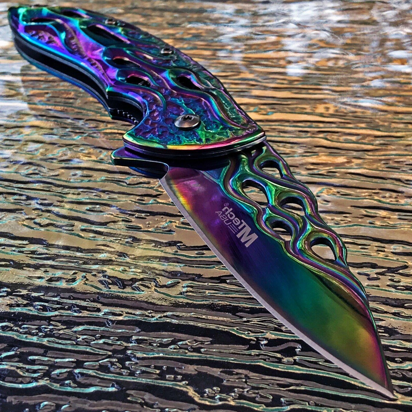 MTech Spring Tactical Flames Folding Pocket Knife