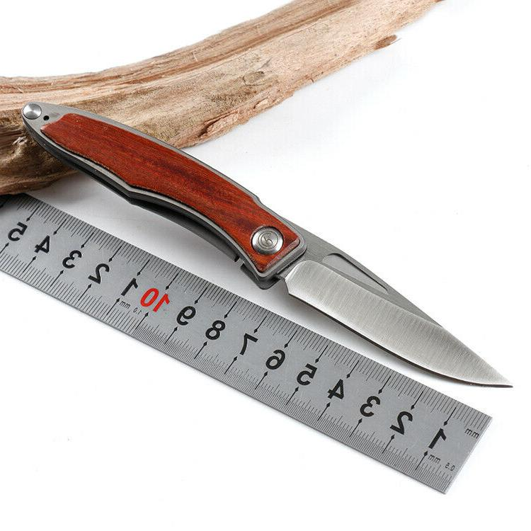 No.M390 Tactical Pocket Knife Box 7Cr13Mov Blade WOOD HANDLE