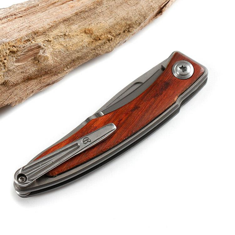 No.M390 Pocket Knife 7Cr13Mov Blade WOOD