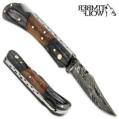 Real Damascus Folding Pocket Timber Rosewood TW448