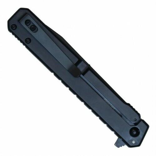 Spring-Assist Knife   Wartech Black Silver Tactical EDC Tanto Blade