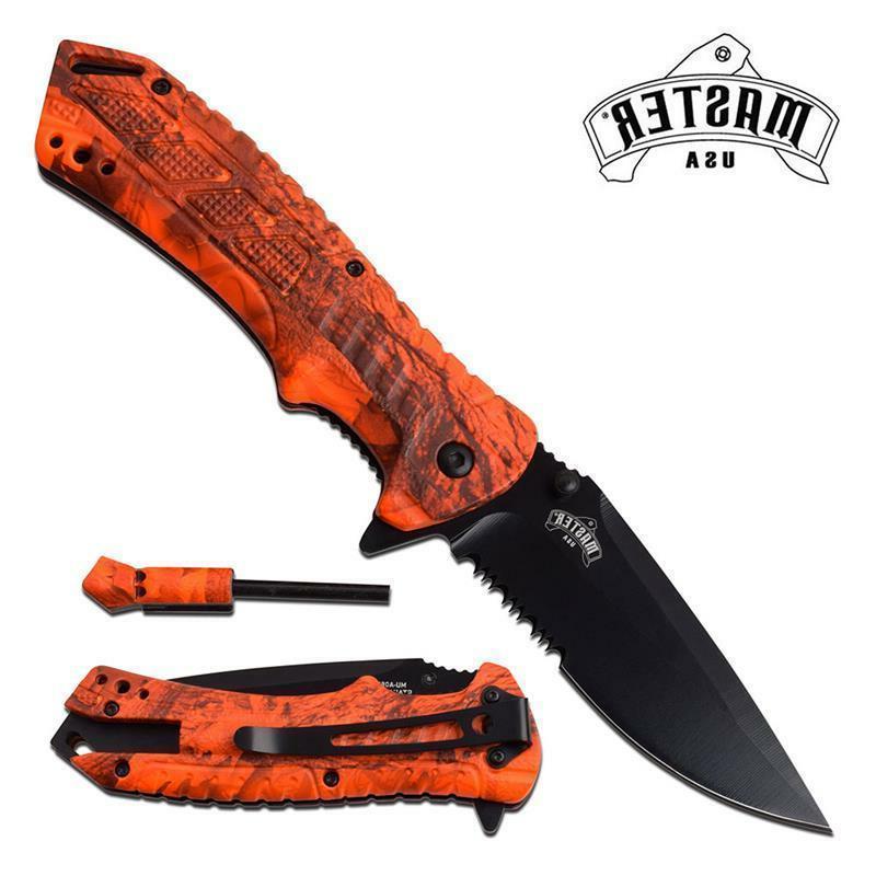 survival folding knife orange camo fire starter