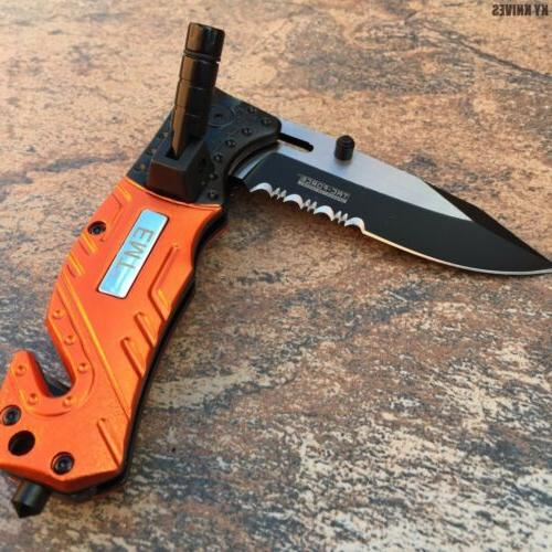 TACFORCE SPRING ASSISTED RESCUE FOLDING KNIFE Pocket TACTICAL