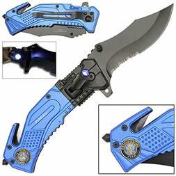LED Flashlight Tactical Rescue Pocket Knife US Navy NEW