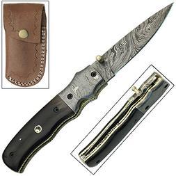 Legends of the Old West Damascus Steel Pocket Knife
