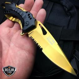 M-Tech Spring Assisted BLACK GOLD FOLDING Blade Tactical Poc