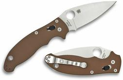 Spyderco Manix 2 Folding Knife, M390 Satin Blade, Brown G-10
