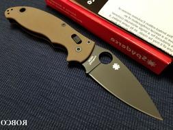 Spyderco Manix 2 M390 DLC Blade Folding Knife, Brown G-10 -