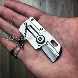 "3"" Mini Dog Tag Necklace Folding Knife Army EDC Tactical Nec"