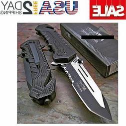 MTECH USA Mtech Ballistic Black Tanto Blade Rescue Pocket Kn