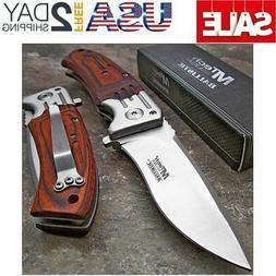MTECH USA Mtech Ballistic Red Pakkawood Folding Blade Pocket