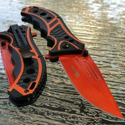 "MTECH USA 8.25"" ORANGE SPRING ASSISTED TACTICAL FOLDING POCK"